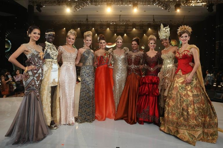 The top 10 Miss World contestants in the fashion show pose in Nusa Dua, Bali, on September 24, 2013