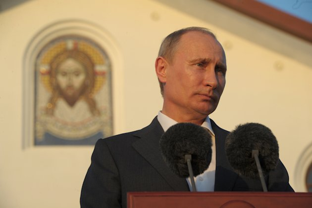 In this Tuesday, June 26, 2012 photo, Russian President Vladimir Putin speaks at an opening ceremony of a hotel for pilgrims of the Russian Orthodox Church in Jordan.(AP Photo/RIA-Novosti, Alexei Druzhinin, Presidential Press Service)