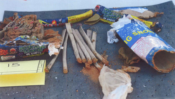 This photo released May 1, 2013 by the U.S. Attorney's office in a federal criminal complaint, shows fireworks, which the complaint said federal agents recovered from inside a backpack belonging to Boston Marathon bombing suspect Dzhokhar Tsarnaeva, found in a landfill in New Bedford, Mass.  Three men who attended the University of Massachusetts at Dartmouth with Tsarnaeva, were charged Wednesday, May 1, 2013, in connection with the case. (AP Photo/U.S. Attorney's Office)
