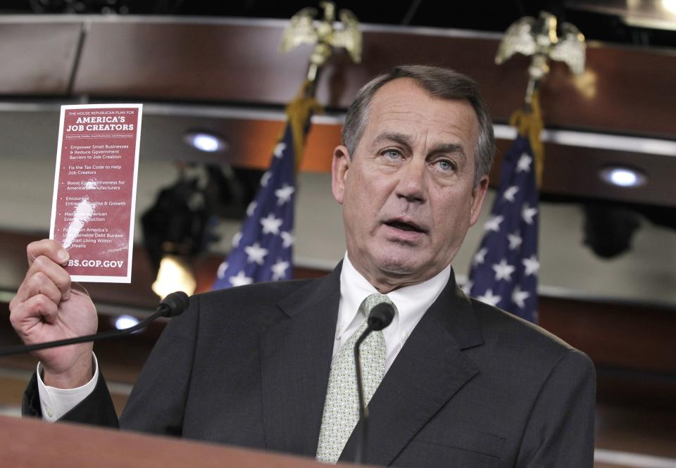 House Speaker John Boehner of Ohio talks about jobs during a news conference on Capitol Hill in Washington, Thursday, Nov. 3, 2011.  (AP Photo/J. Scott Applewhite)