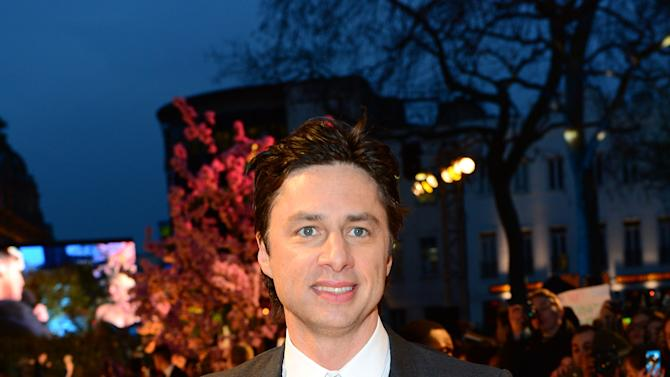 Zach Braff   attends Walt Disney Pictures European Premiere of 'Oz: The Great And Powerful' at the Empire Leicester Square in London on Thursday, Feb. 28, 2013. (Jon Furniss/Invision for Disney/AP)