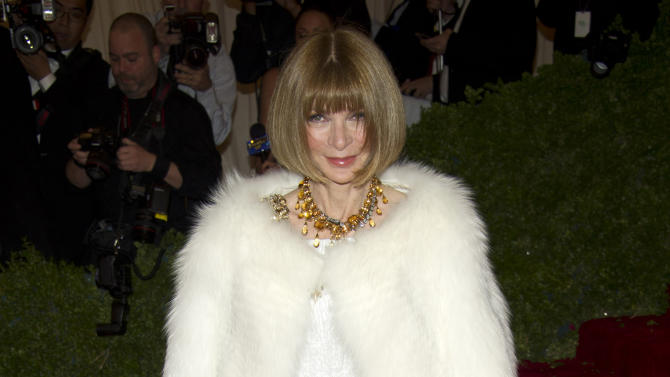 FILE - In this Monday, May 7, 2012 file photo Anna Wintour arrives at the Metropolitan Museum of Art Costume Institute gala benefit, celebrating Elsa Schiaparelli and Miuccia Prada, in New York. Anna Wintour may be poised to follow in the footsteps of Thomas Jefferson, Ben Franklin and John Quincy Adams by becoming U.S. ambassador to England or France. Officials at the U.S. Embassy in London said they would not speculate on President Obama's eventual choice for a successor to Ambassador Louis Susman, who has announced plans to step down. (AP Photo/Charles Sykes, File)