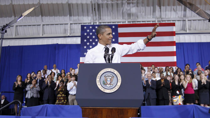 President Barack Obama delivers remarks on energy, Thursday, March, 15, 2012, in Largo, Md. (AP Photo/Pablo Martinez Monsivais)
