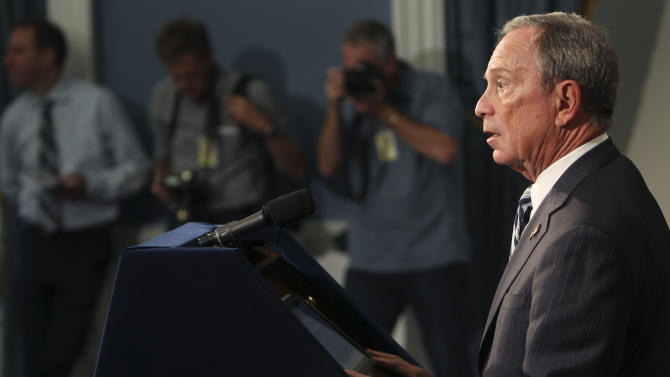 New York City Mayor Michael Bloomberg speaks at a news conference in New York, Thursday, Sept. 13, 2012. New York City's Board of Health opened up a new, experimental front in the war on obesity Thursday, passing a rule banning sales of big sodas and other sugary drinks at restaurants, concession stands and other eateries.  (AP Photo/Seth Wenig)