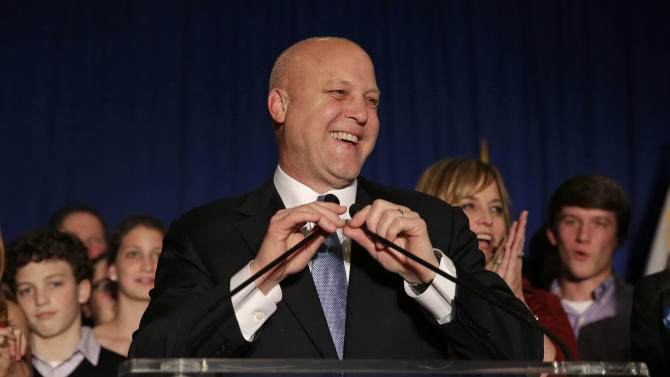 Incumbent New Orleans Mayor Mitch Landrieu addresses supporters after winning reelection in New Orleans, Saturday, Feb. 1, 2014. (AP Photo/Gerald Herbert)