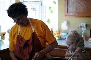 Grandma & toddler bake together