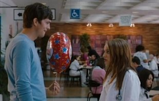 Ashton Kutcher and Natalie Portman battle out their romantic differences in a scene from