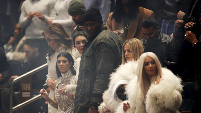 "Lamar Odom stands at Kanye West's Yeezy Season 3 presentation and listening party for the new ""Life of Pablo"" album during New York Fashion Week"
