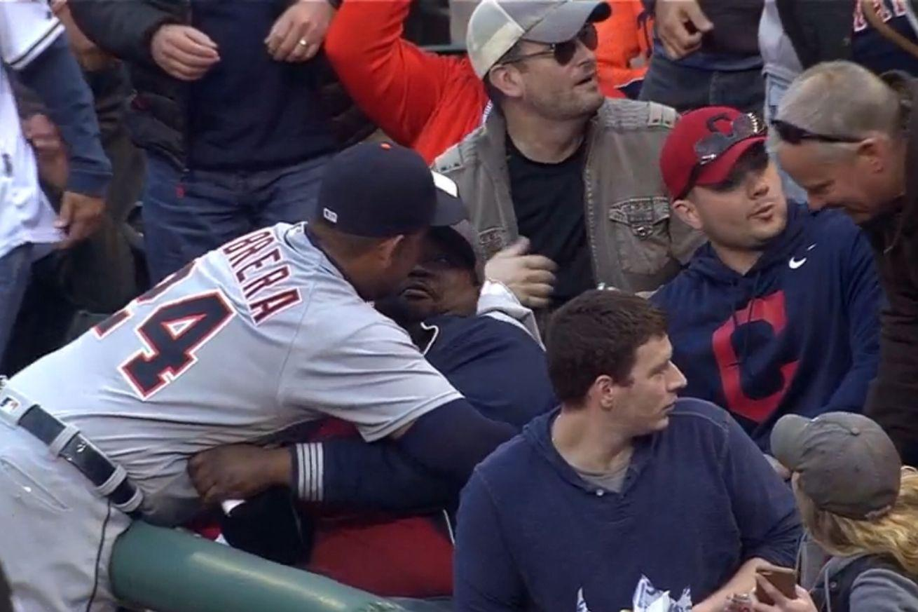 Miguel Cabrera didn't catch a foul ball, but he caught this fan in a hug instead