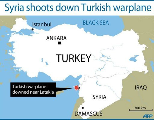 <p>Map locating where the Turkish warplane was shot down by Syria. Turkey says the bodies of the two pilots of a warplane that was downed by Syria on June 22 have been recovered at the bottom of the eastern Mediterranean sea</p>