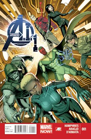 "In this publicity image released by Marvel Comics, the cover of the ""Avengers A.I.,"" comic book is shown. Artificial intelligence is the crux of a new team of Avengers whose roster members are either synthetic, android or robotic. Such is the crux of ""Avengers A.I."" which boasts the return of the Vision to prominence after years secluded on the sidelines in a self-imposed exile. (AP Photo/Marvel Comics)"
