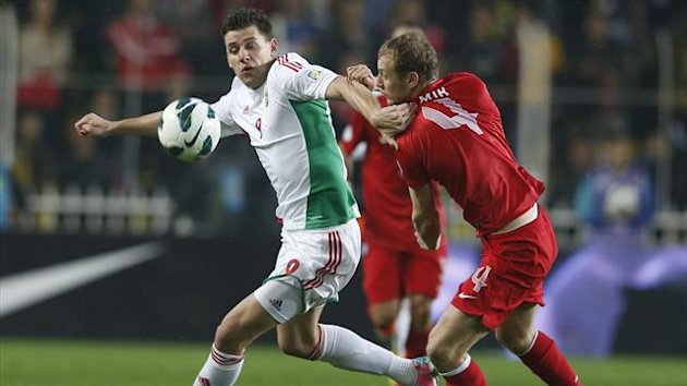 Turkey's Semih Kaya challenges Hungary's Adam Szalai (L) during their 2014 World Cup qualifying soccer match at Sukru Saracoglu stadium in Istanbul March 26, 2013.