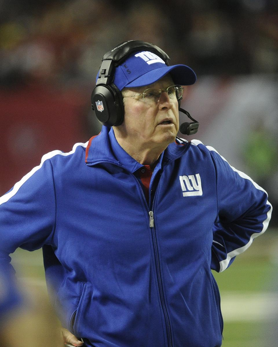 New York Giants head coach Tom Coughlin watches play during the second half of an NFL football game against the Atlanta Falcons, Sunday, Dec. 16, 2012, in Atlanta. (AP Photo/John Amis)