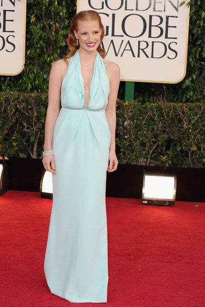 Jessica Chastain: She's the toast of Hollywood for her role in the controversial film 'Zero Dark Thirty' but her red carpet style is also a winner. The seafoam green gown fits her figure perfectly and