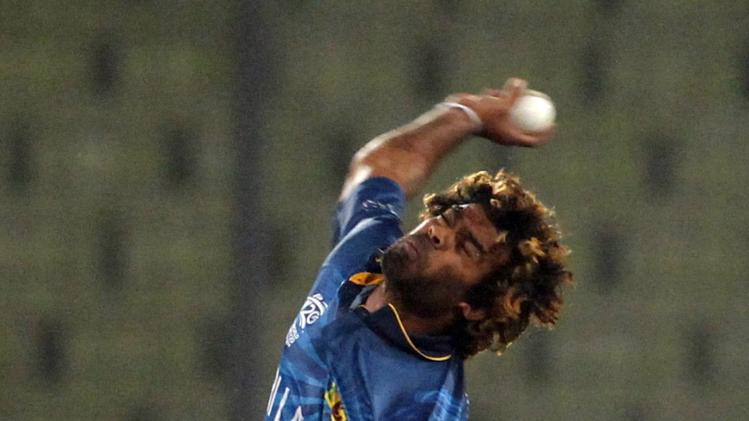 Sri Lanka's Malinga bowls against India during their warm-up match of ICC Twenty20 World Cup at the Sher-E-Bangla National Cricket Stadium in Dhaka
