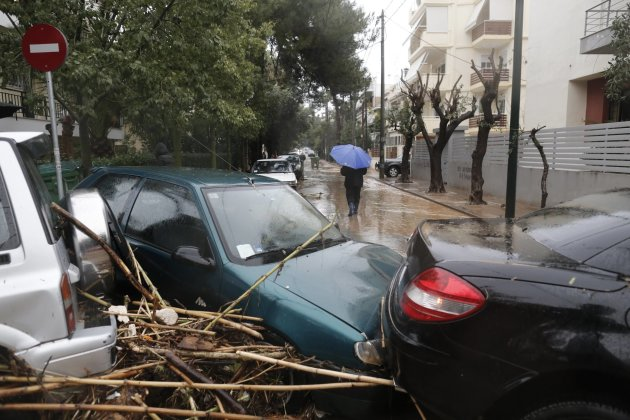Damaged cars are seen following heavy rain in Chalandri suburb north of Athens