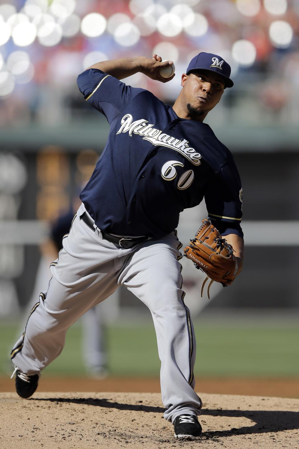 Milwaukee Brewers' Wily Peralta pitches in the second inning of a baseball game against the Philadelphia Phillies, Saturday, June 1, 2013, in Philadelphia. (AP Photo/Matt Slocum)