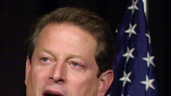 "FILE -In this Nov. 8, 2000 file photo, then-Democratic presidential candidate, Vice President Al Gore speaks in Nashville, Tenn., on the current status of the presidential vote recount in Florida. The mere mention of the 2000 election unsettles people in Palm Beach County. The county's poorly designed ""butterfly ballot"" confused thousands of voters, arguably costing Democrat Al Gore the state, and thereby the presidency.  Gore won the national popular vote by more than a half-million ballots. But George W. Bush became president after the Supreme Court decided, 5-4, to halt further Florida recounts, more than a month after Election Day. Bush carried the state by 537 votes, enough for an Electoral College edge, and the White House.  (AP Photo/Stephan Savoia, File)"