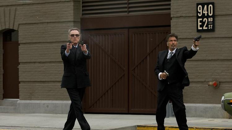 "This film image released by Roadside Attractions shows, Christopher Walken as Doc, left, and Al Pacino as Val, in a scene from ""Stand Up Guys."" (AP Photo/Roadside Attractions, Saeed Adyani)"