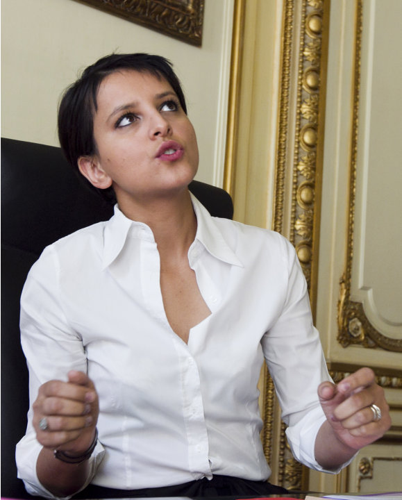 Najat Vallaud-Belkacem, French minister for Women's Rights, answers questions from  the Associated Press in Paris, Tuesday, July 24, 2012.  French lawmakers are nearing passage of a law on sexual hara