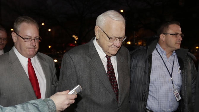 Former Illinois Gov. George Ryan arrives at a halfway house in Chicago Wednesday, Jan. 30, 2013, after serving five-plus years in federal prison on corruption charges. The 78-year-old Ryan began serving his 6 1/2-year sentence in November 2007 in Oxford, Wis., and was released from another prison in Terra Haute, Ind., to enter the halfway house under a work-release program. (AP Photo/M. Spencer Green)