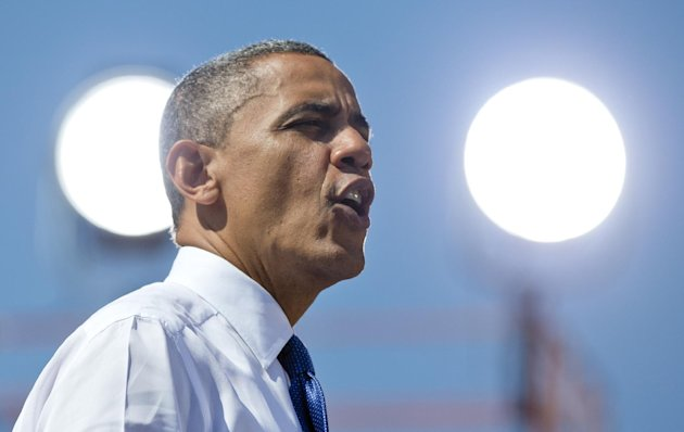 President Barack Obama speaks at a campaign event at G. Richard Pfitzner Stadium, Friday, Sept. 21, 2012, in Woodbridge, Va. (AP Photo/Carolyn Kaster)