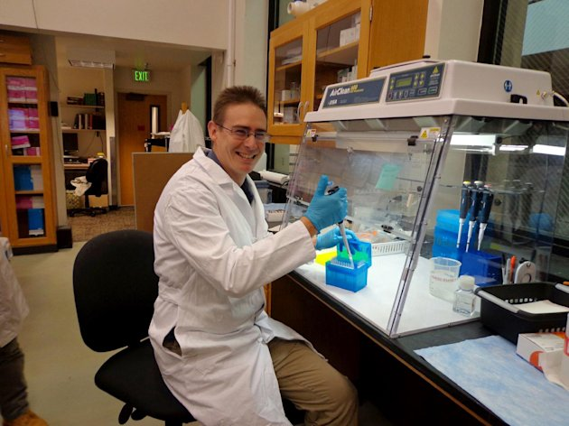 This undated photo provided by the University of Colorado shows scientist Rob Knight in his lab at the University of Colorado, Boulder, where he is leading the American Gut Project. The bacterial zoo inside your gut could look very different if you're a vegetarian or an Atkins dieter, a couch potato or an athlete, fat or thin. Now for a fee and a stool sample, the curious can find out just what's living in their intestines and help one of the hottest new fields in science. (AP Photo/University of Colorado)