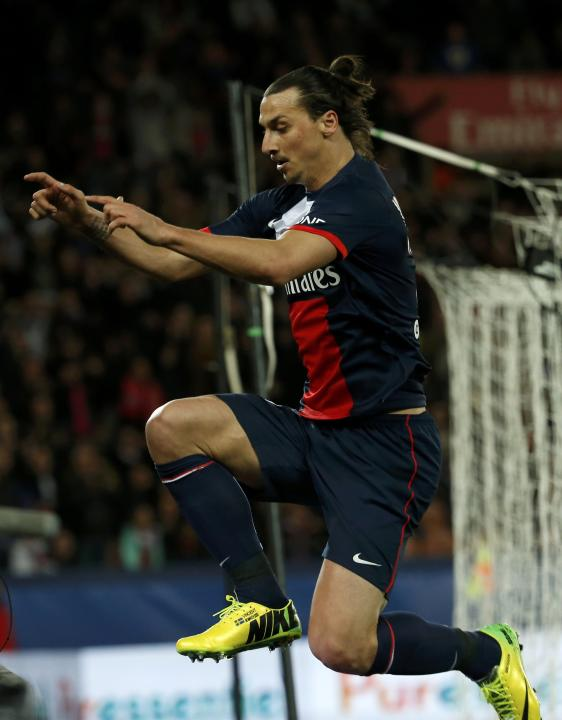 Paris St Germain's Zlatan Ibrahimovic celebrates after scoring against St Etienne during their French Ligue 1 soccer match at the Parc des Princes Stadium in Paris