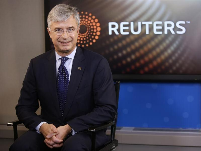 Hubert Joly, President and CEO of Best Buy, sits in the Reuters Television studio after an interview, in New York