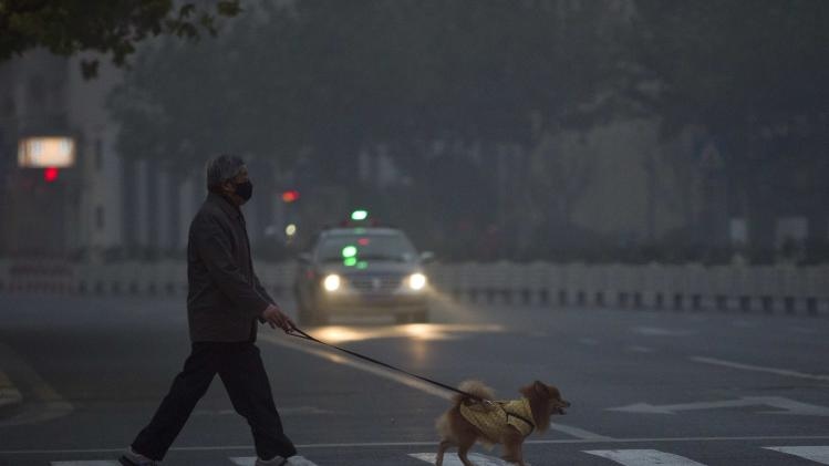 A man wears a face mask while walking his pet dog on a street during a hazy day in downtown Shanghai