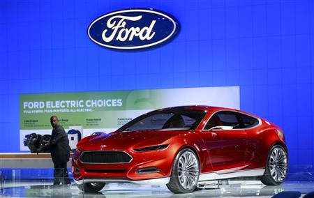 A man passes the Ford Evos concept car at the Washington Auto Show