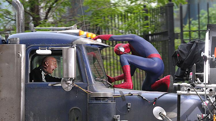 Andrew Garfield and Paul Giamatti film an action scene for their upcoming film 'The Amazing Spider-Man 2' in Brooklyn, NYC