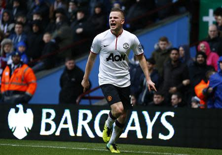 Manchester United's Cleverley celebrates his goal against Aston Villa during their Premier League match in Birmingham