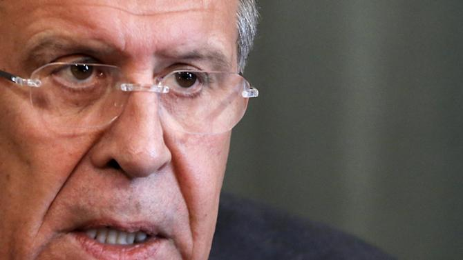 Russian Foreign Minister Lavrov speaks during news conference with his Azerbaijani counterpart Mammadyarov in Moscow
