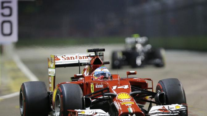 Ferrari Formula One driver Fernando Alonso of Spain drives during the second practice session of the Singapore F1 Grand Prix at the Marina Bay street circuit in Singapore