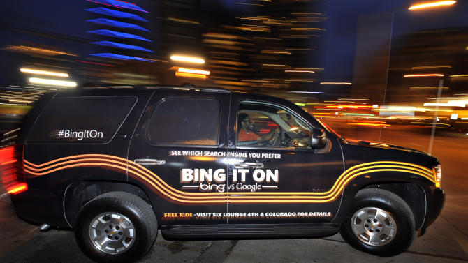 IMAGE DISTRIBUTED FOR BING - The Bing It On SUV makes a run to drop guests at the Bing Recharge Lounge, Friday, March 8, 2013, in Austin, Texas. (Photo byJack Dempsey/Invision for Bing/AP Images)