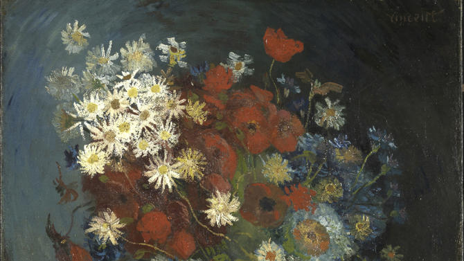 "This photo provided by the Kroeller Mueller Museum in Otterlo, Netherlands, Tuesday, March 20, 2012, shows a painting entitled ""Still life with meadow flowers and roses"" by Vincent van Gogh. The Kroeller Mueller Museum says new X-ray research has finally put beyond doubt that ""Still life with meadow flowers and roses"" really is by Van Gogh. It has also uncovered in greater detail an art school study by Van Gogh of two wrestlers concealed on the same canvas and invisible to the naked eye. (AP Photo/Kroeller Mueller Museum, HO) EDITORIAL USE ONLY"
