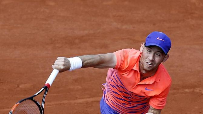 Israel's Dudi Sela serves the ball to France's Jo-Wilfried Tsonga in the second round match of the French Open tennis tournament against Croatia's Mirjana Lucic-Baroni at the Roland Garros stadium, in Paris, France, Wednesday, May 27, 2015. (AP Photo/Christophe Ena)