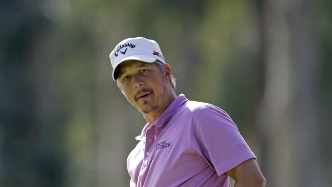 Fredrik Jacobson, of Sweden, saves par on the eighth green in the second round of the Northern Trust Open golf tournament at Riviera Country Club in the Pacific Palisades area of Los Angeles, Friday, Feb. 15, 2013. (AP Photo/Reed Saxon)