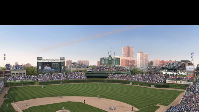 FILE -This file photo shows an artist rendering provided May 1, 2013 by the Chicago Cubs showing planned renovations at Wrigley Field. On Wednesday, July 24, 2013, Chicago City Council aldermen are set to vote on proposed renovations at the historic ballpark. Under the deal, the Chicago Cubs agreed not to erect outfield signs in addition to a Jumbotron in left field and another sign in right. (AP Photo/Courtesy the Chicago Cubs, File)