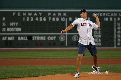 Jordan Spieth's first pitch at Fenway sails high and wide