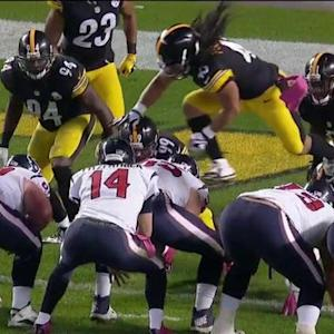Pittsburgh Steelers safety Troy Polamalu just a bit offside