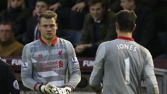 Liverpool's Simon Mignolet replaces Brad Jones during their English Premier League soccer match at Turf Moor in Burnley