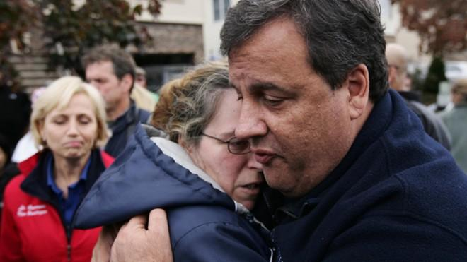 New Jersey Gov. Chris Christie comforts a victim of Superstorm Sandy on Nov. 1.
