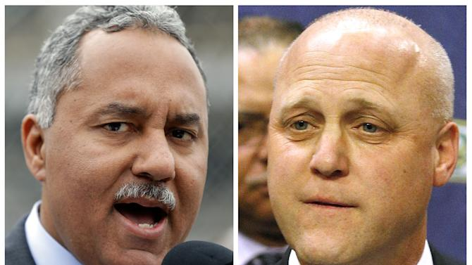 In this photo combo of images, New Orleans Sheriff Marlin Gusman, left, speaks to reporters at a news conference outside the construction site of new jail facilities in New Orleans, on Thursday, April 4, 2013; while at right, New Orleans Mayor Mitch Landrieu speaks during a news conference at City Hall in New Orleans, on Tuesday, Feb. 5, 2013. A political brawl has broken out between Gusman and Landrieu. The jail has come under scrutiny recently for a video showing inmates using drugs, drinking beer and one prisoner with a handgun in 2009. The jail is run by Gusman but funded by the city. Landrieu is upset over an agreement Gusman reached with the U.S. Justice Department to reform the jail, saying the city can't afford the potential fixes. The sheriff says the city has consistently underfunded the jail and suggested race may be behind the attacks. (AP Photo/Gerald Herbert, Jonathan Bachman)