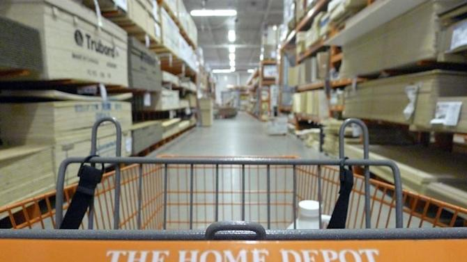 A shopping cart is seen in a Home Depot location in Niles