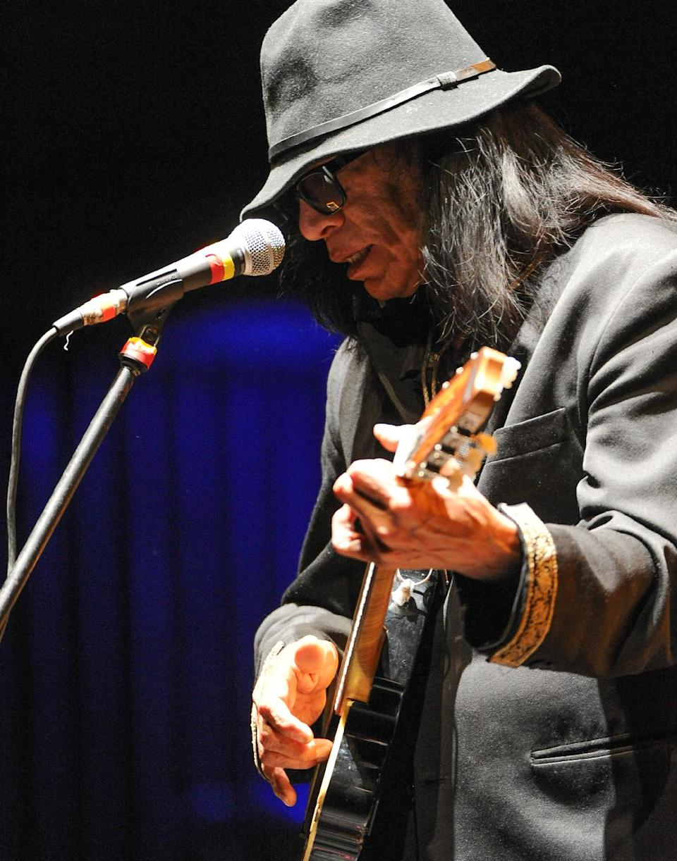 Singer-songwriter Sixto Rodriguez performs at the Beacon Theatre on Sunday April 7, 2013 in New York. (Photo by Evan Agostini/Invision/AP)