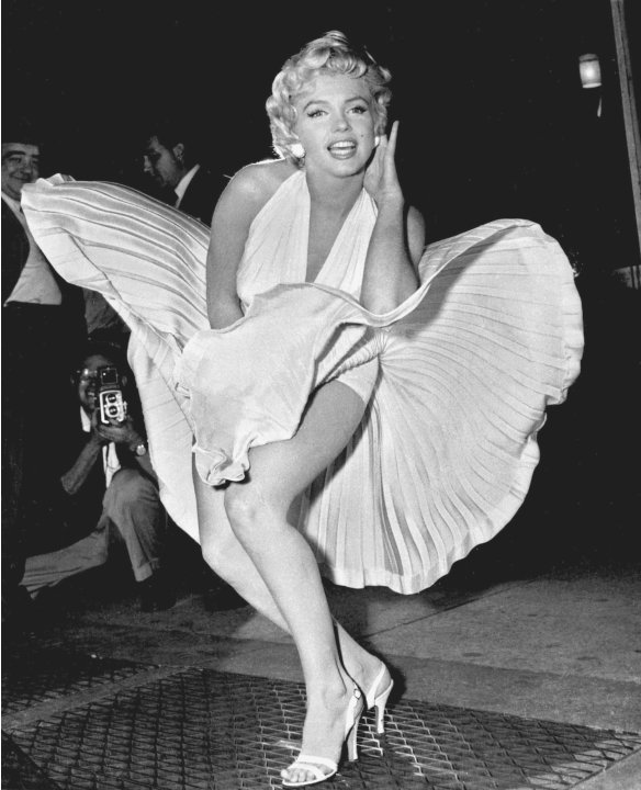 "FILE - In this Sept. 9, 1954 file photo, Marilyn Monroe poses over the updraft of New York subway grating while in character for the filming of ""The Seven Year Itch"" in Manhattan. The former Norma Jea"