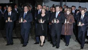 Foreign leaders taking part in a ceremony marking 70…