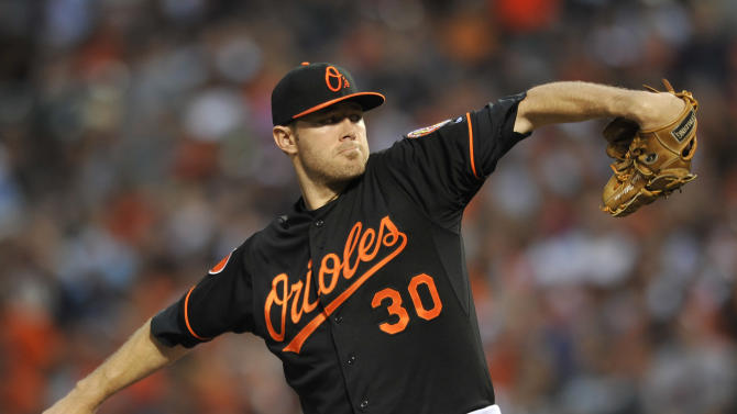 Baltimore Orioles starting pitcher Chris Tillman delivers against the New York Yankees in the first inning of a baseball game, Sunday, June 30, 2013, in Baltimore. (AP Photo/Gail Burton)